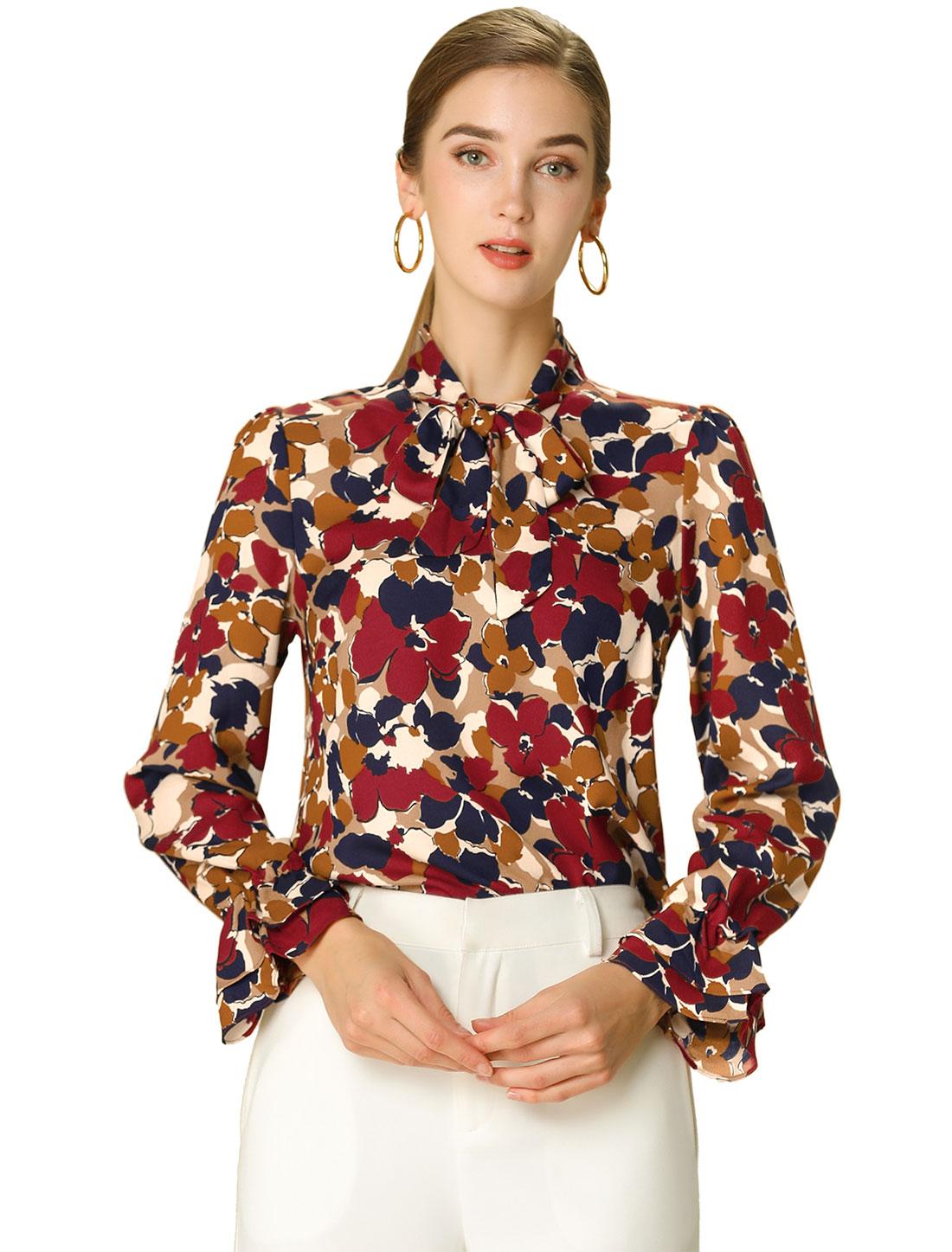 Allegra K Women's Tie Neck Long Sleeve Floral Shirt Red S (US 6)