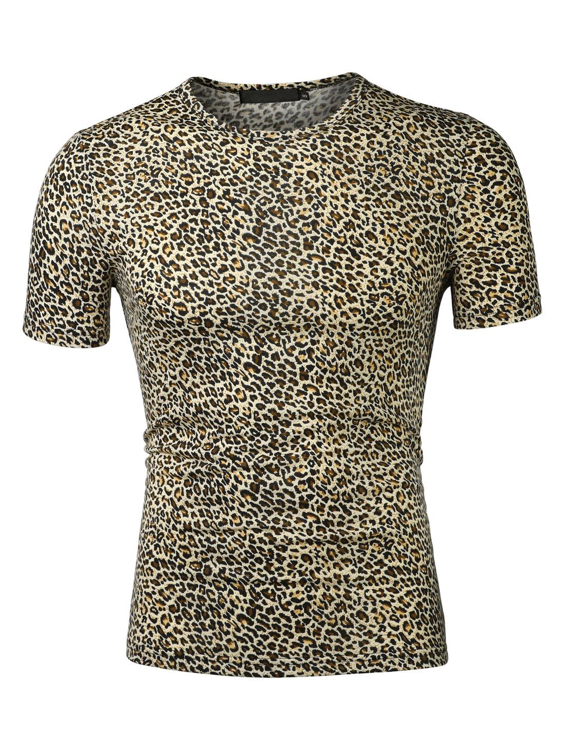 Men Round Neck Short Sleeves Leopard Print Tee Shirt Beige Black XXL (US 50)