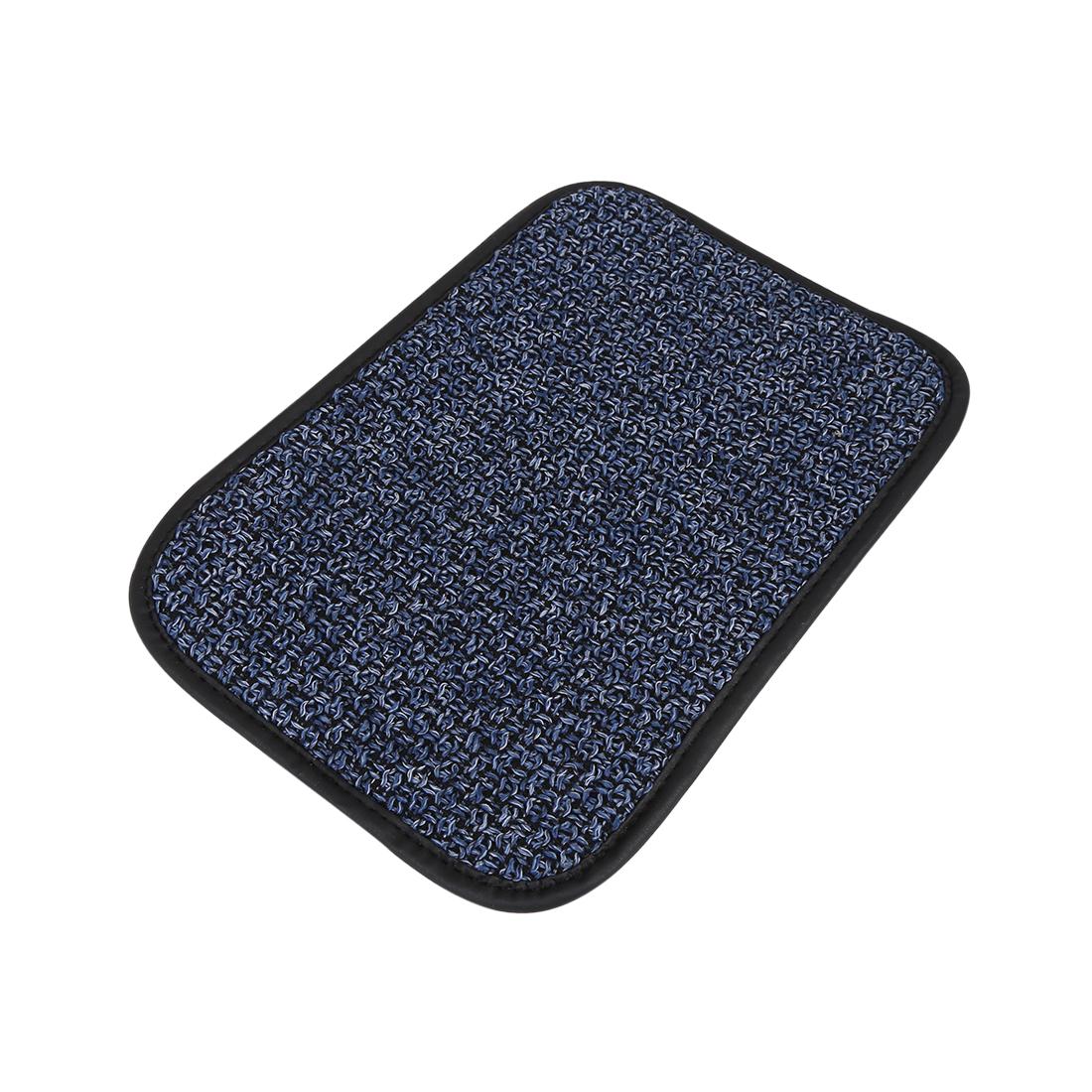 Universal Car Auto Center Console Lid Armrest Linen Cover Pad Blue