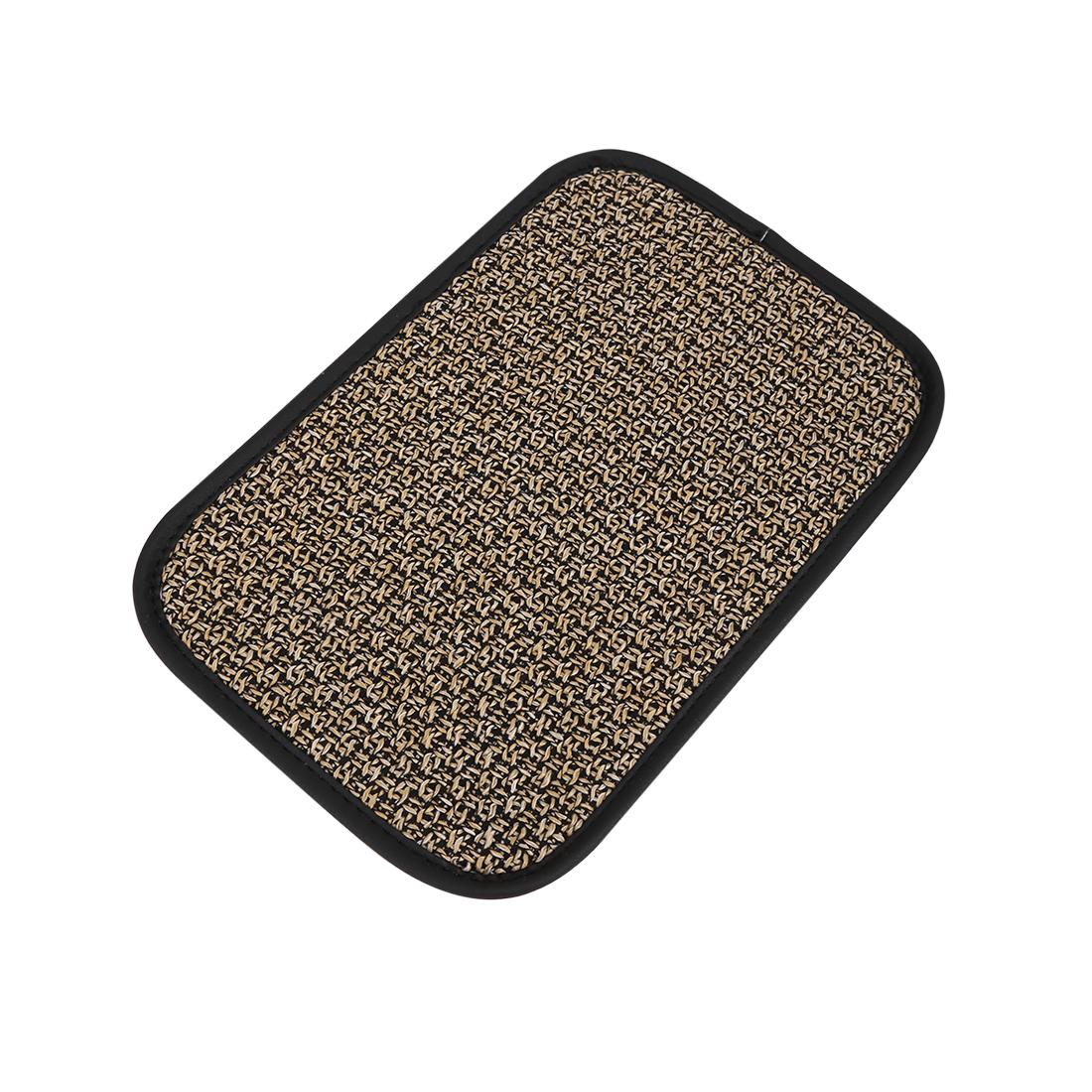 Universal Car Auto Center Console Lid Armrest Linen Cover Pad Beige