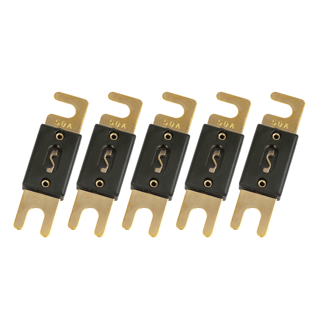 5 Pcs 50 Amp ANL Fuse Gold Tone Plated for Car Audio Video Stereo