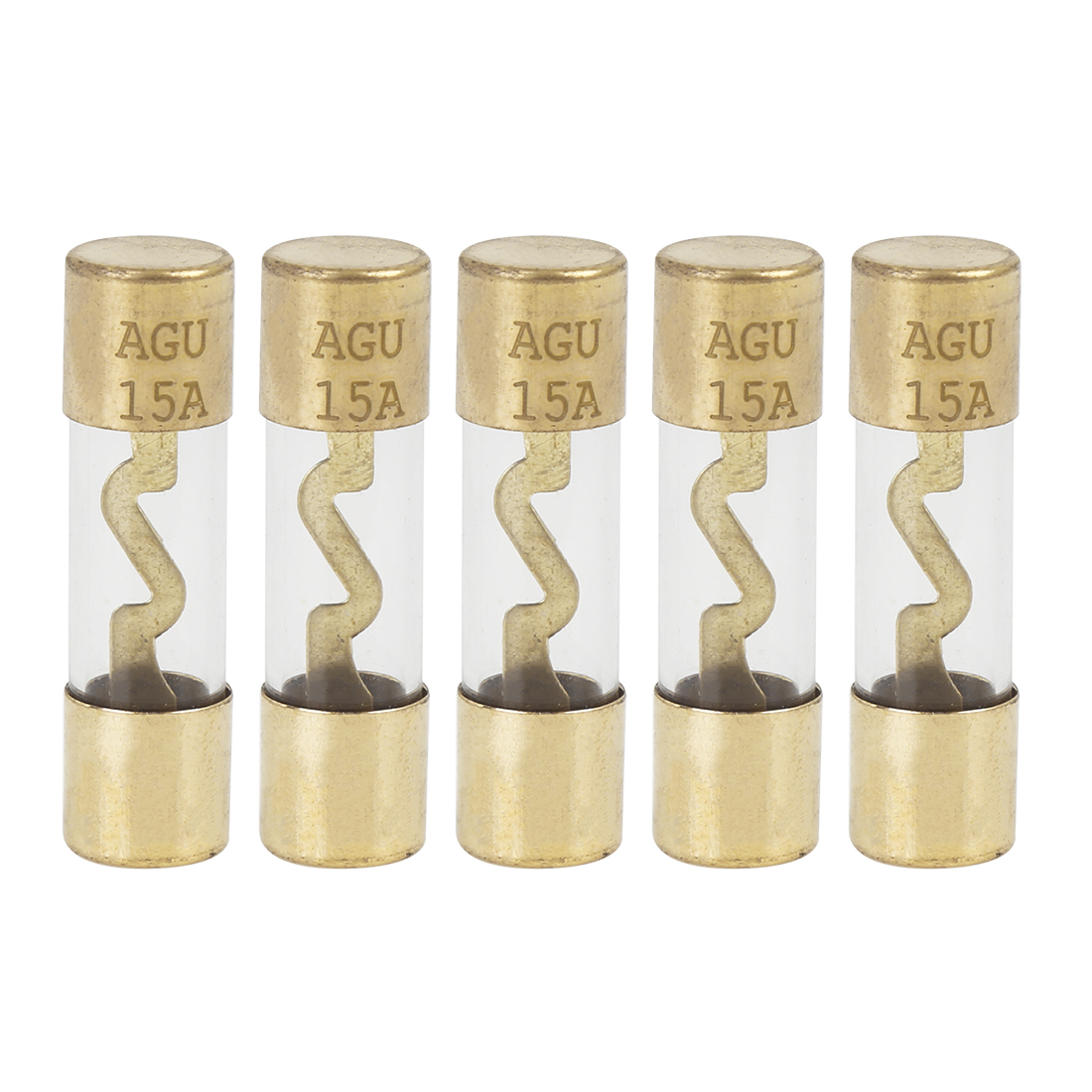 5pcs 15 Amp AGU Fuse Gold Tone Plated for Car Audio Video Stereo