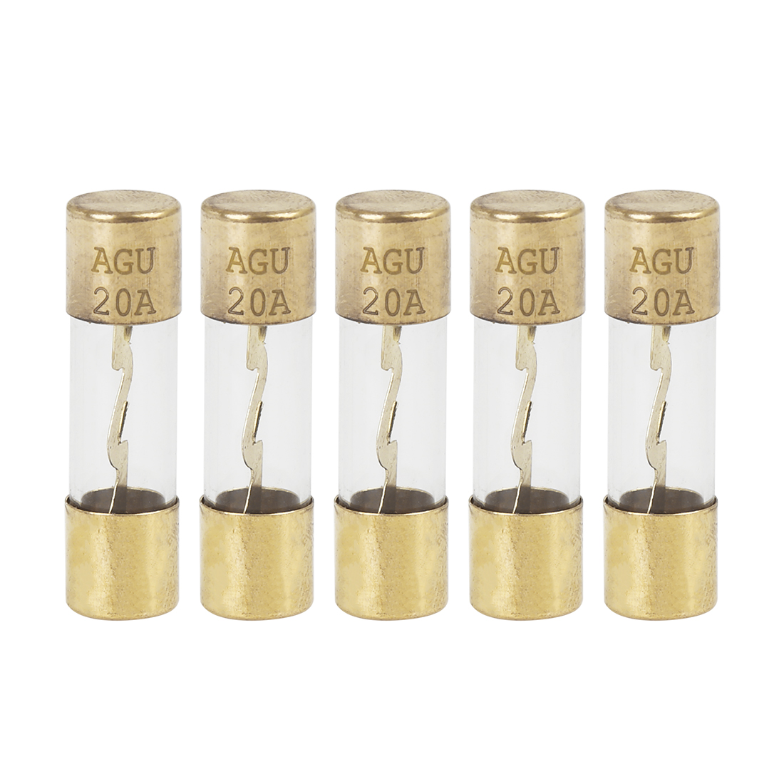 5pcs 20 Amp AGU Fuse Gold Tone Plated for Car Audio Video Stereo