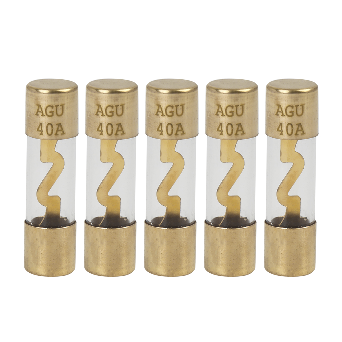5pcs 40 Amp AGU Fuse Gold Tone Plated for Car Audio Video Stereo