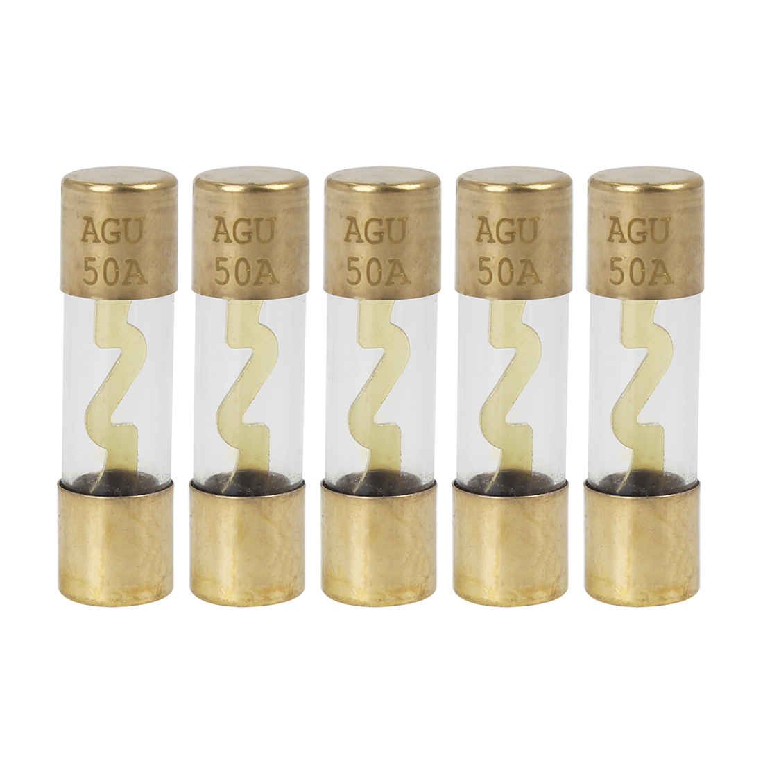 5pcs 50 Amp AGU Fuse Gold Tone Plated for Car Audio Video Stereo