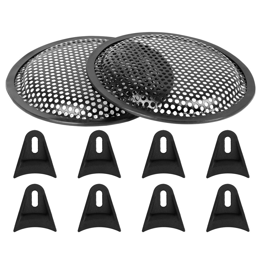 2pcs 6'' Black Car Audio Speaker Subwoofer Metal Black Waffle Grill Cover Guard