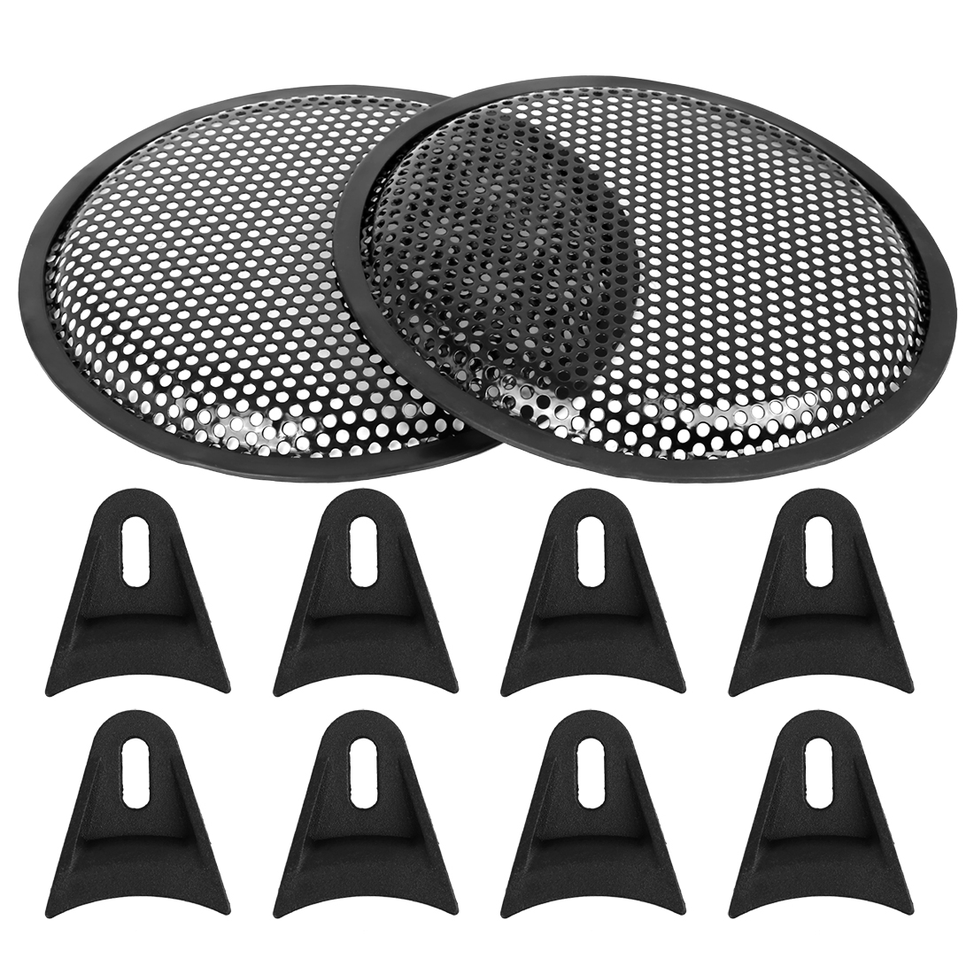 2pcs 8'' Black Car Audio Speaker Subwoofer Metal Black Waffle Grill Cover Guard