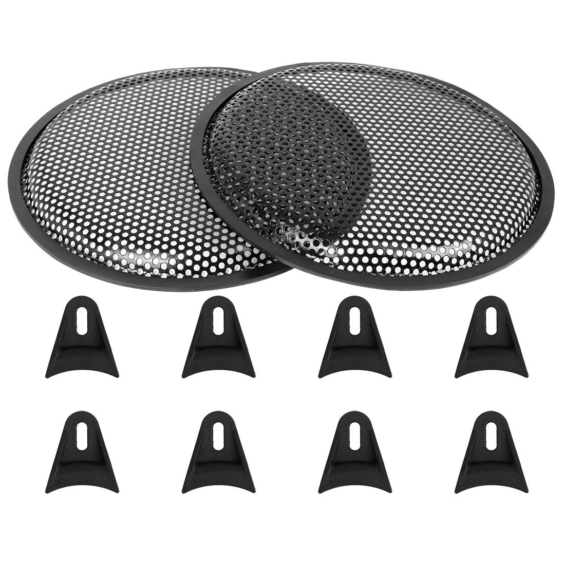 2pcs 10'' Black Car Audio Speaker Subwoofer Metal Black Waffle Grill Cover Guard