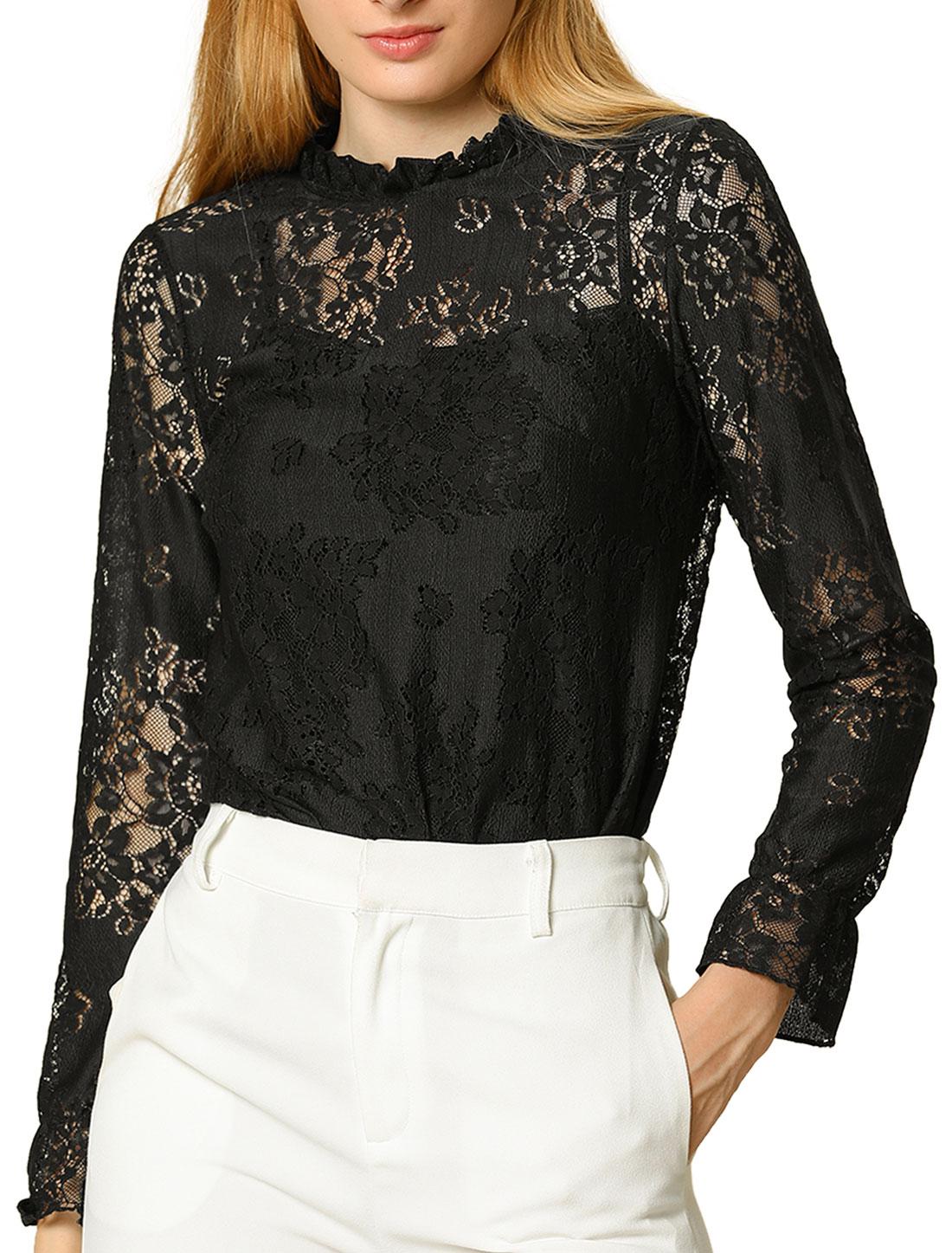 Allegra K Womens Lace Sheer Floral Color Block Blouse Black XS (US 2)