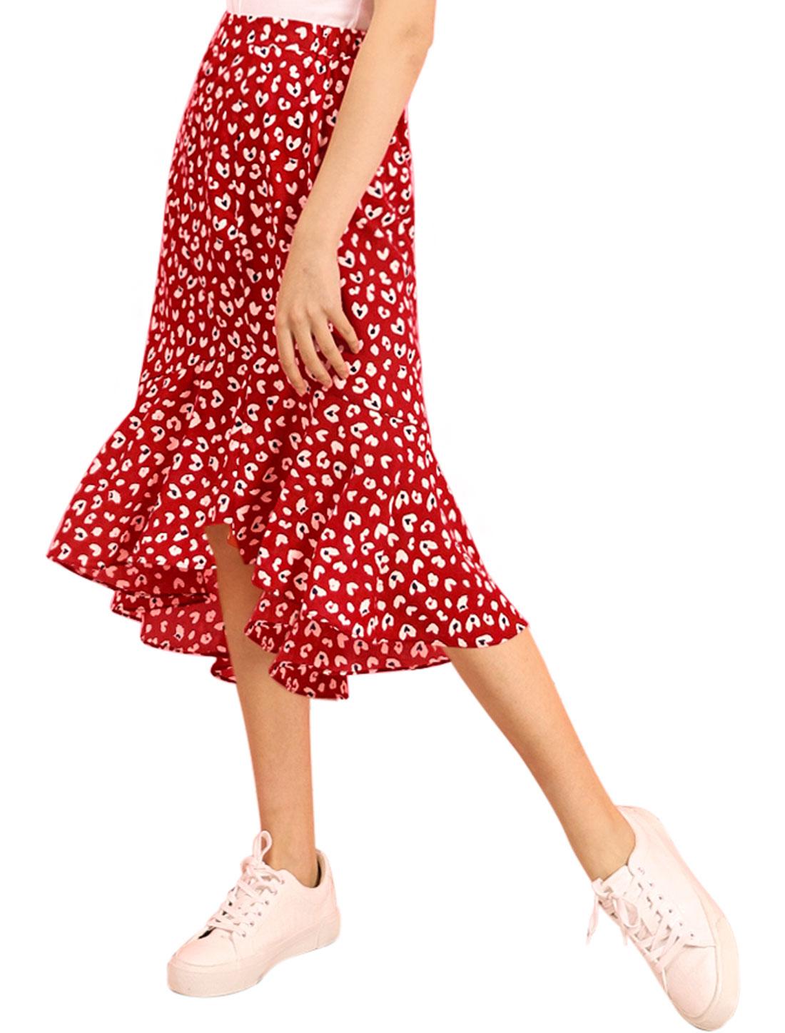 Allegra K Women's Floral Leopard Print Ruffle Midi Skirt Red XS