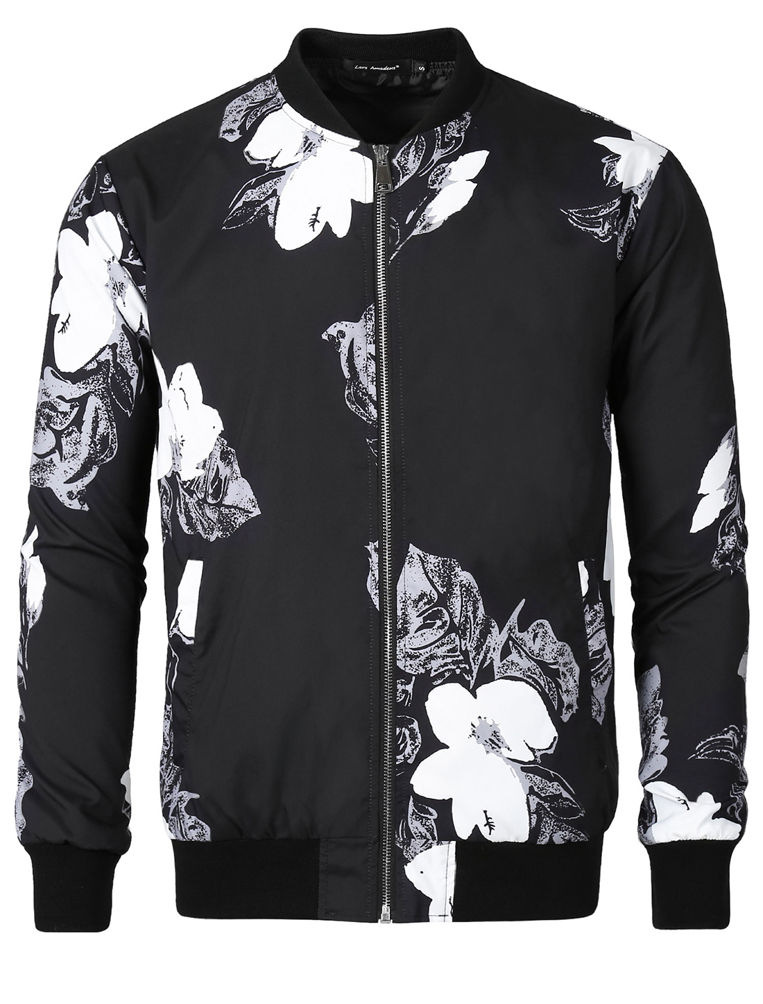 Men Bomber Jacket Floral Print Zipper Casual Lightweight Jackets Black XXLarge
