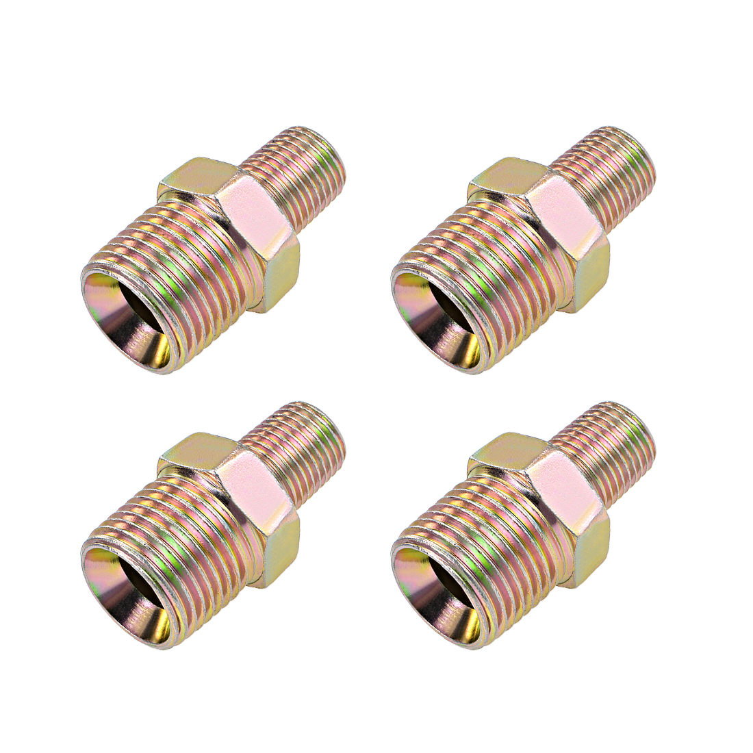 Reducing Pipe Fitting Reducer Hex Nipple 1/4x1/2 BSP Male Connector Copper 4Pcs