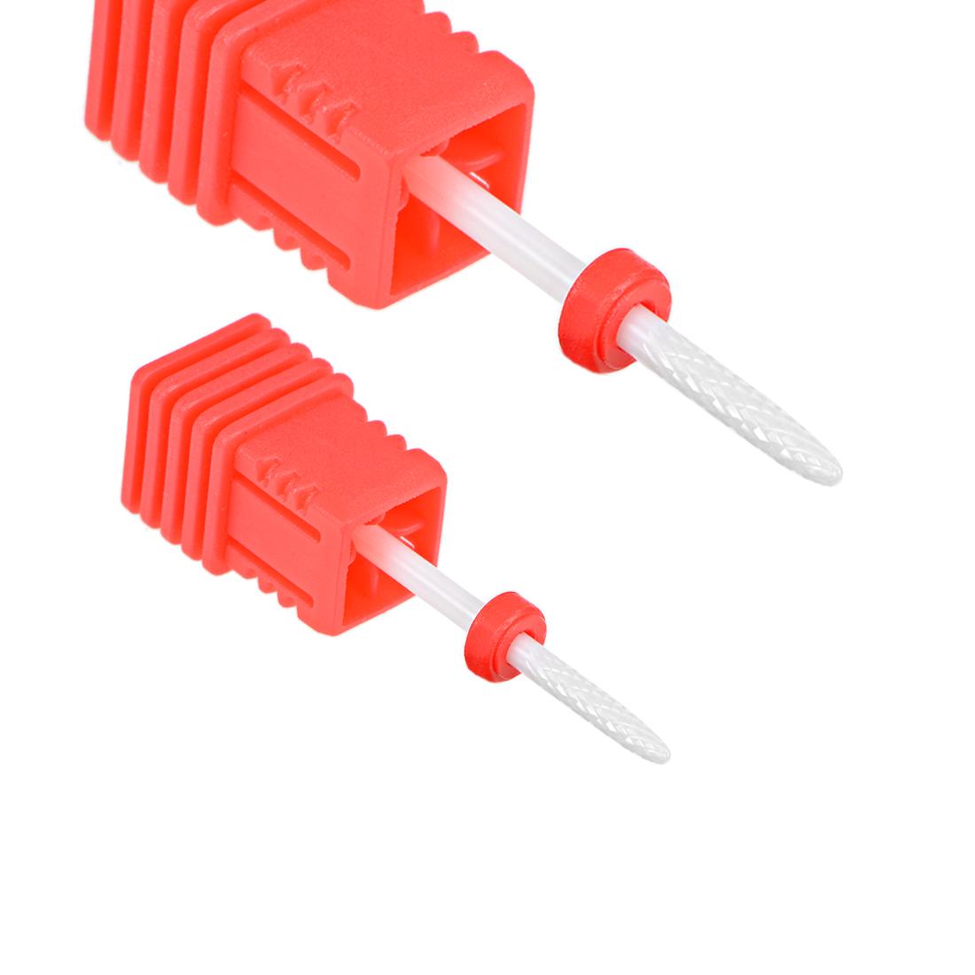 2pcs Ceramic Nail Drill Bit 3/32 Fine Grit for Manicure Pedicure Nail Polishing