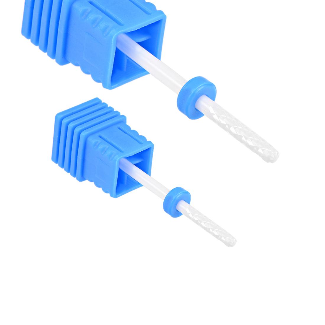 2pcs Ceramic Nail Drill Bits 3/32 inch (Medium Grit) Nails File Bit Blue