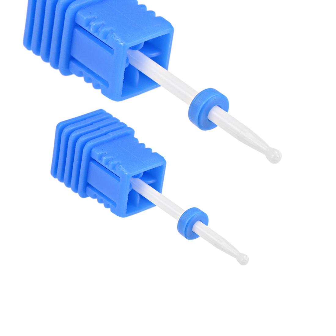 2pcs Ceramic Nail Drill Bits 3/32 inch (Medium Grit) Manicure Pedicure Blue