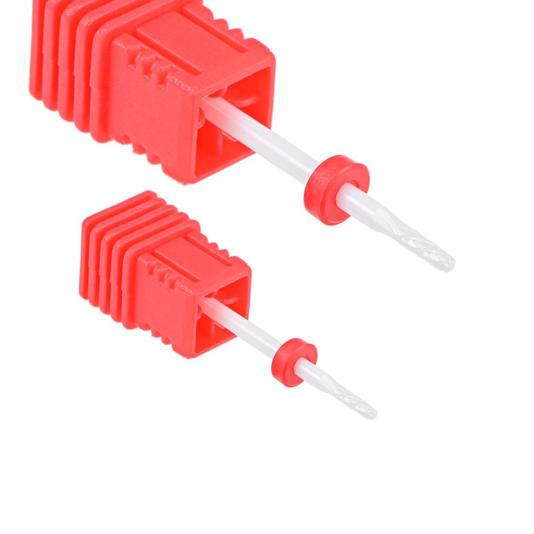 """2pcs Ceramic Nail Drill Bits 3/32"""" Fine Acrylic Nails File for Manicure Pedicure"""