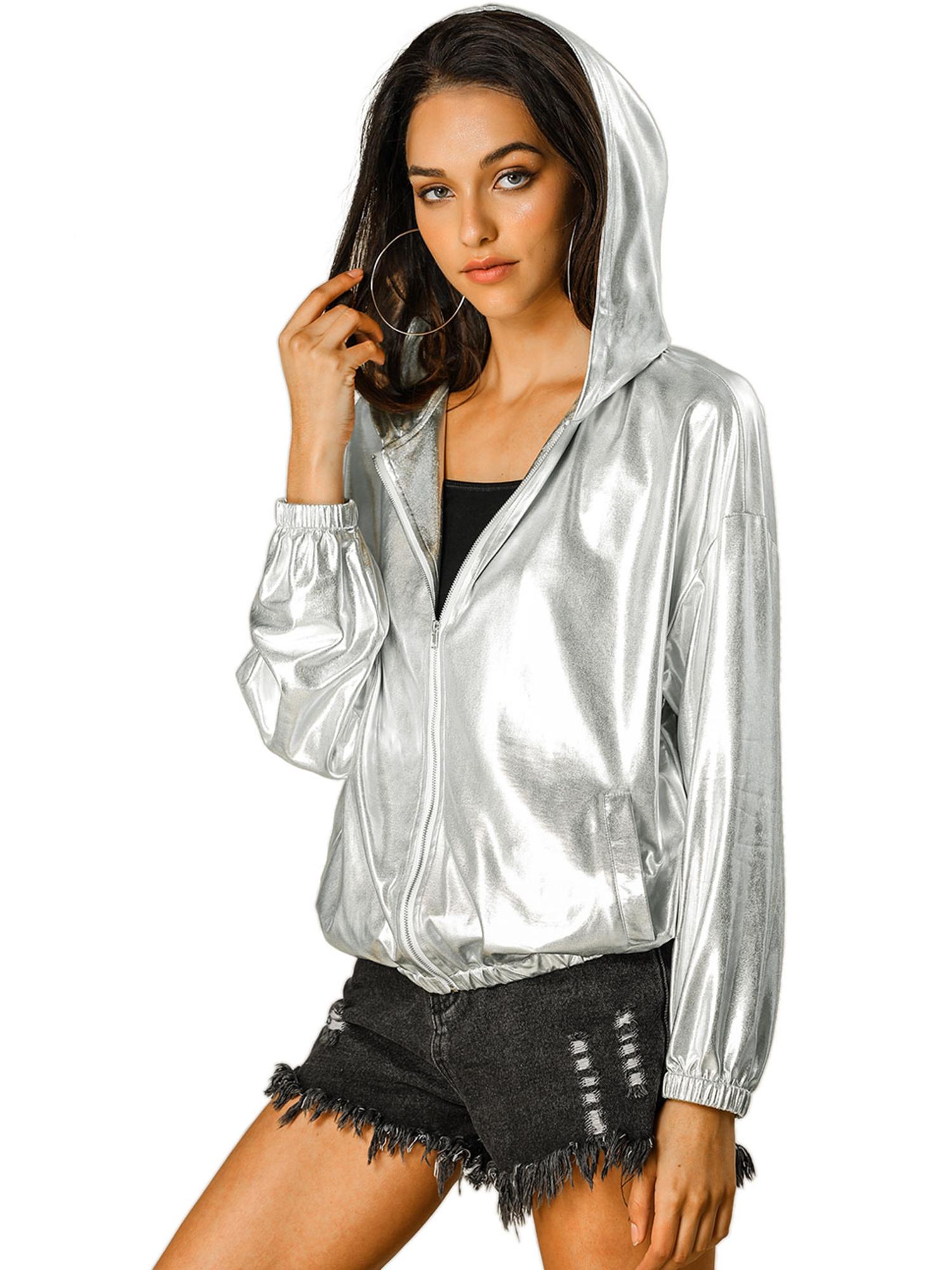 Allegra K Women's Long Sleeve Zipper Hooded Metallic Jacket Silver XL