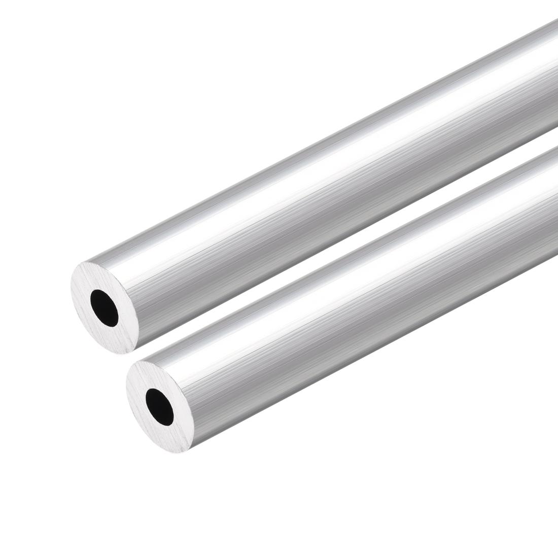 6063 Aluminum Round Tube 300mm Length 12mm OD 5mm Inner Dia Seamless Tubing 2pcs