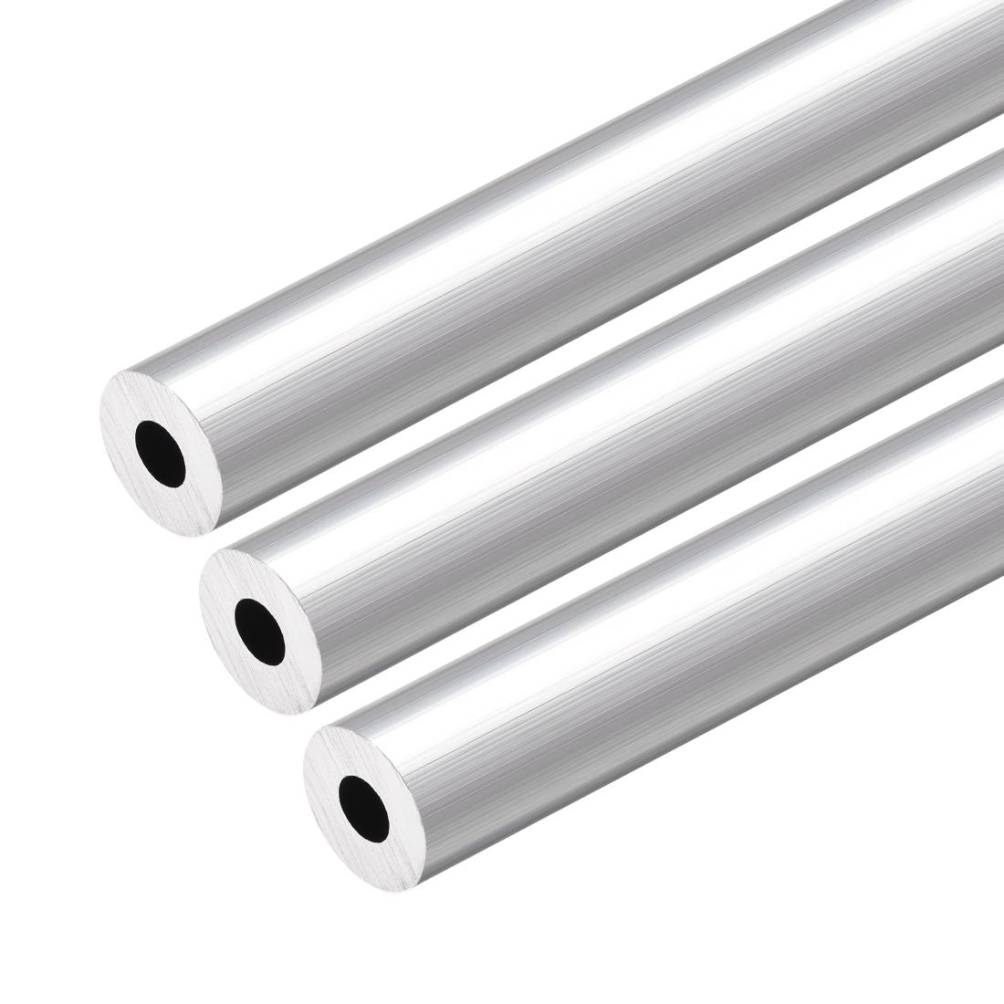 6063 Aluminum Round Tube 300mm Length 12mm OD 5mm Inner Dia Seamless Tubing 3pcs