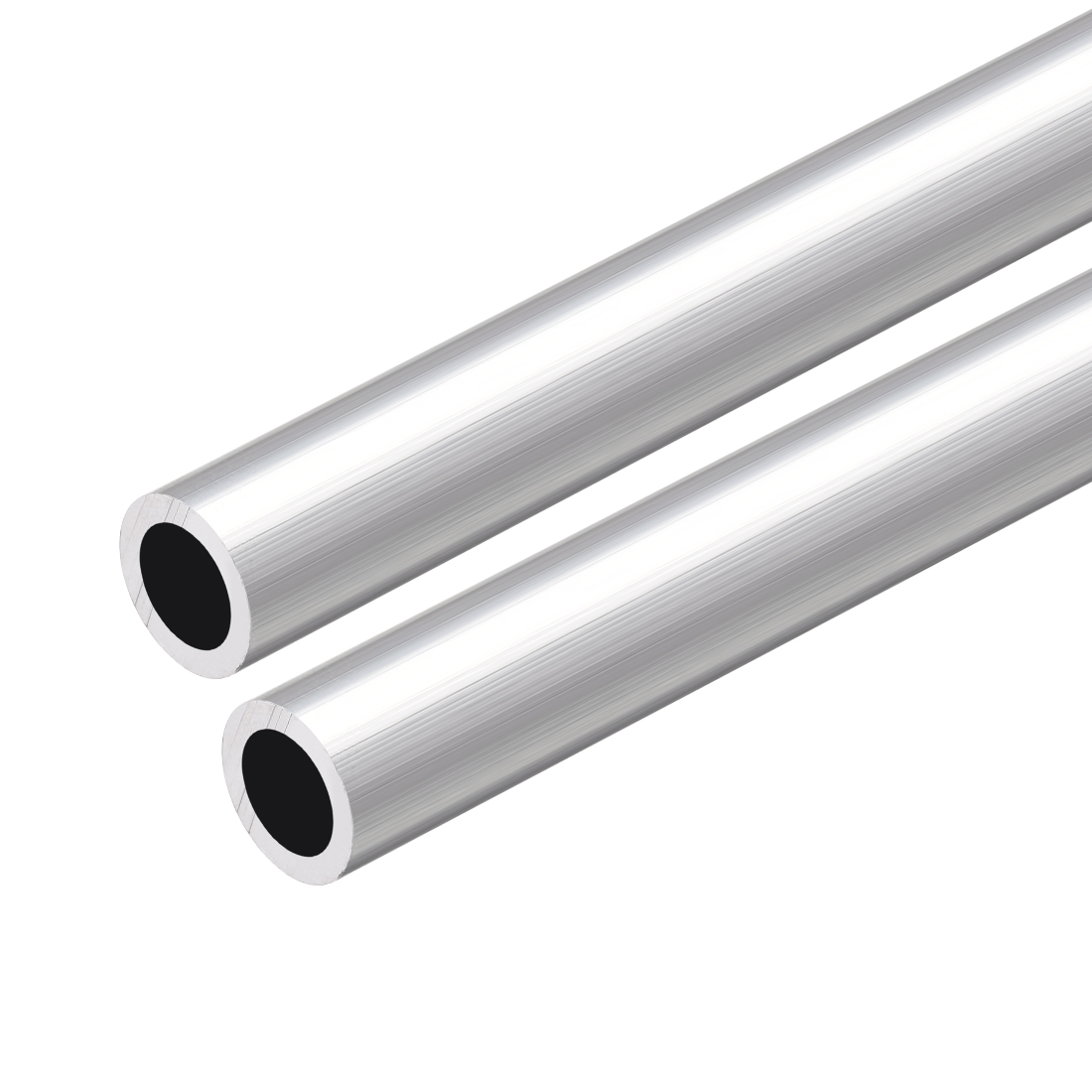 6063 Aluminum Round Tube 300mm Length 12mm OD 8mm Inner Dia Seamless Tubing 2Pcs