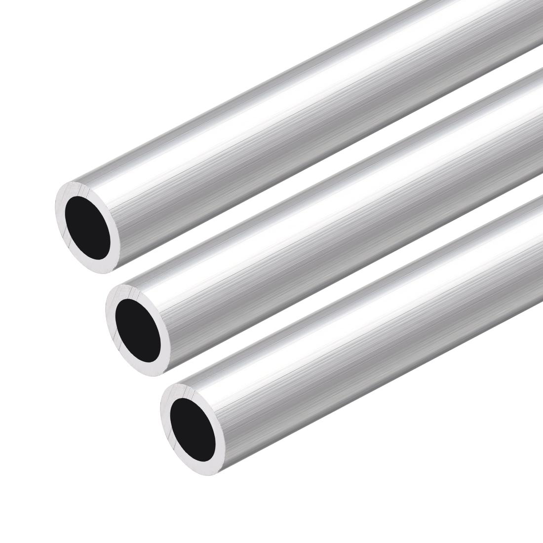 6063 Aluminum Round Tube 300mm Length 12mm OD 9mm Inner Dia Seamless Tubing 3Pcs