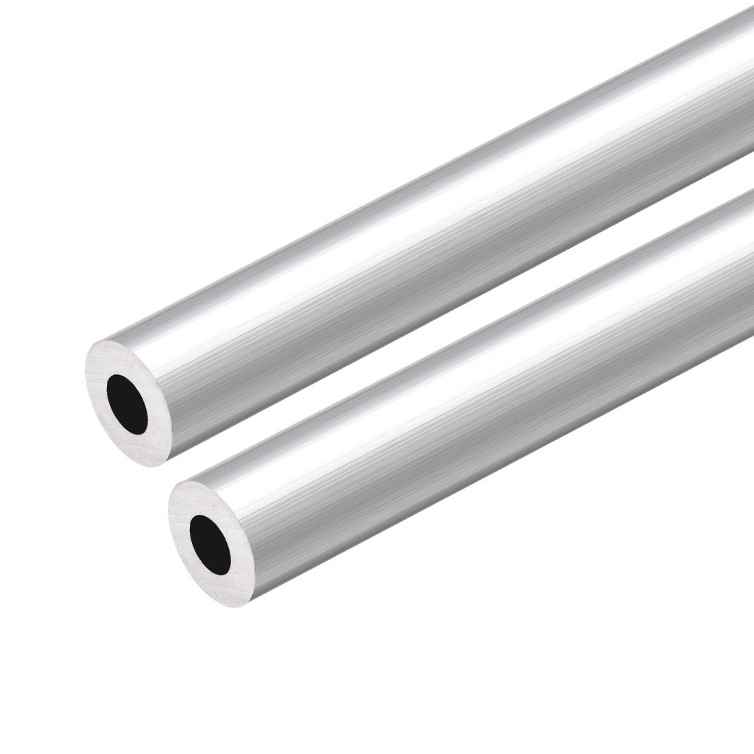 6063 Aluminum Tubing 300mm Length 12.7mm OD 8.8mm Inner Dia Seamless Tube 2pcs