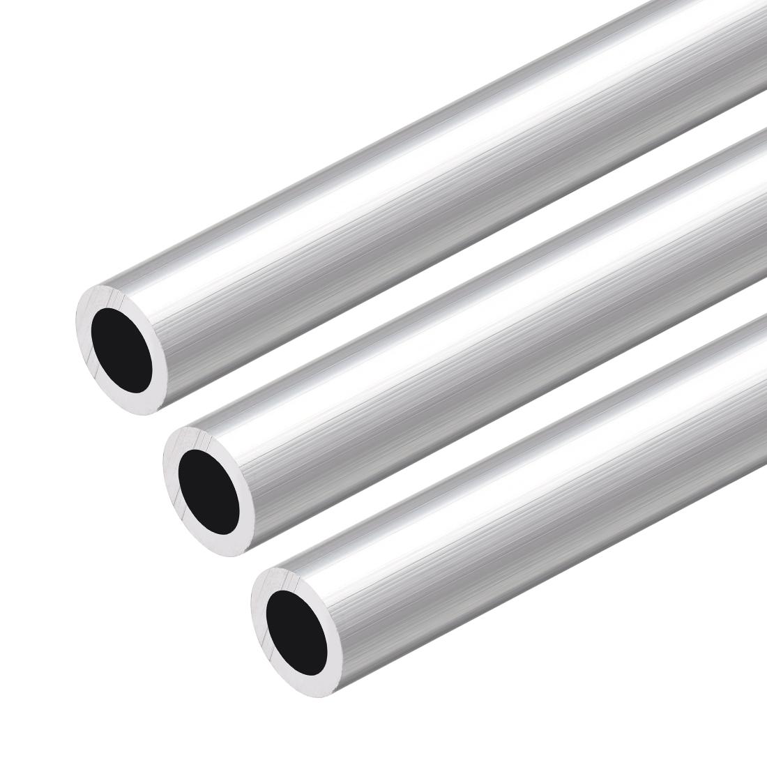 6063 Aluminum Round Tube 300mm Length 13mm OD 9mm Inner Dia Seamless Tubing 3pcs