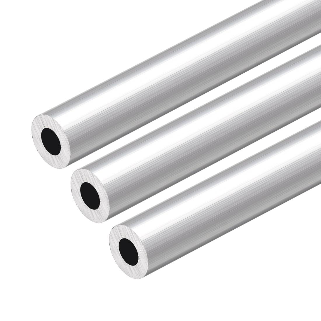 6063 Aluminum Round Tube 300mm Length 14mm OD 7mm Inner Dia Seamless Tubing 3pcs