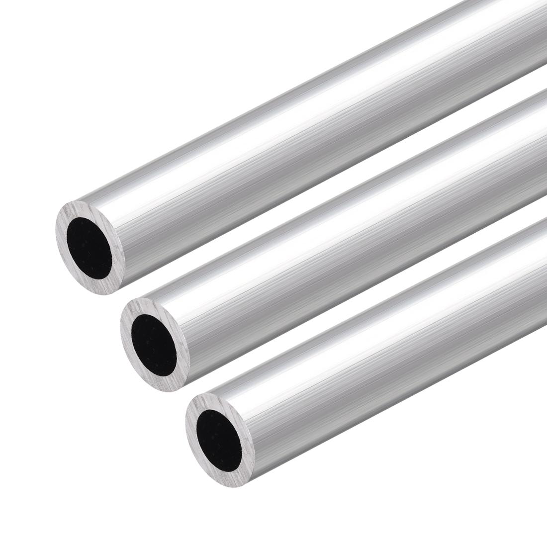6063 Aluminum Round Tube 300mm Length 15mm OD 10mm Inner Dia Seamless Tube 3 Pcs