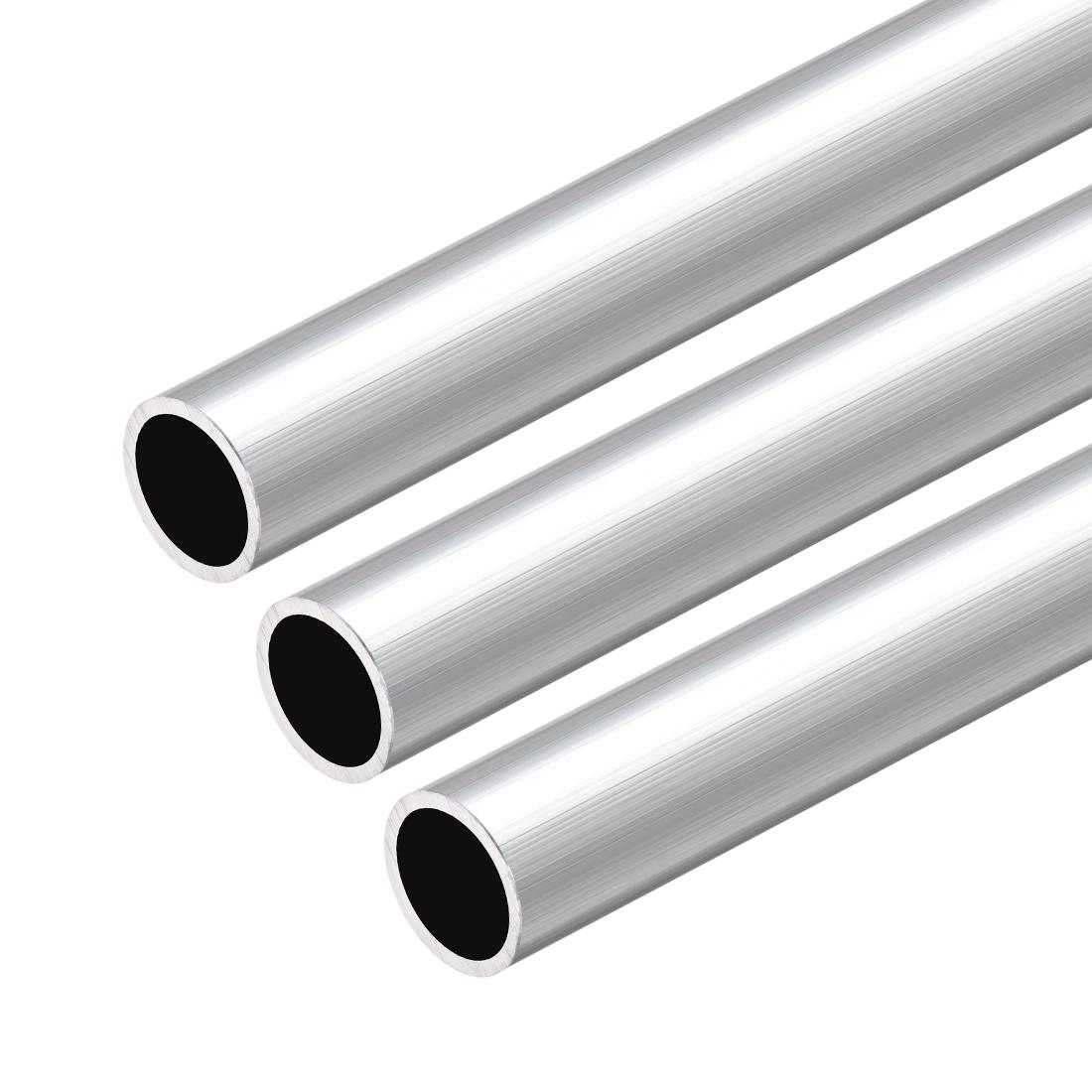 6063 Aluminum Round Tube 300mm Length 15mm OD 13mm Inner Dia Seamless Tube 3 Pcs