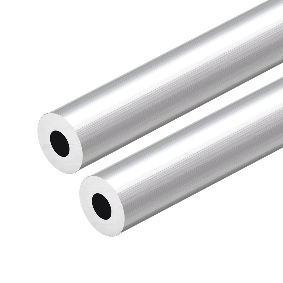 6063 Aluminum Round Tube 300mm Length 16mm OD 7mm Inner Dia Seamless Tubing 2pcs
