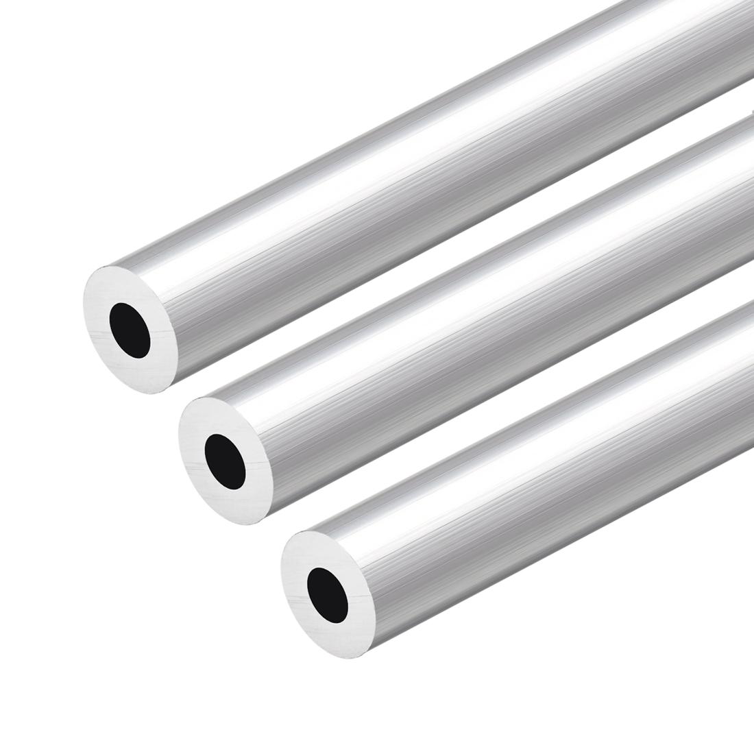 6063 Aluminum Round Tube 300mm Length 16mm OD 7mm Inner Dia Seamless Tubing 3pcs