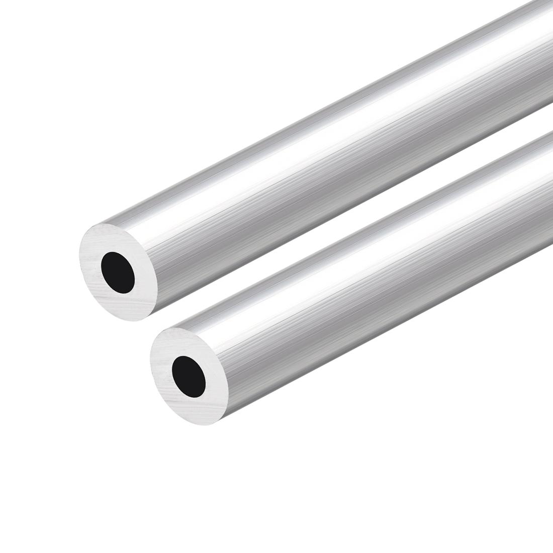 6063 Aluminum Round Tube 300mm Length 17mm OD 8mm Inner Dia Seamless Tubing 2pcs