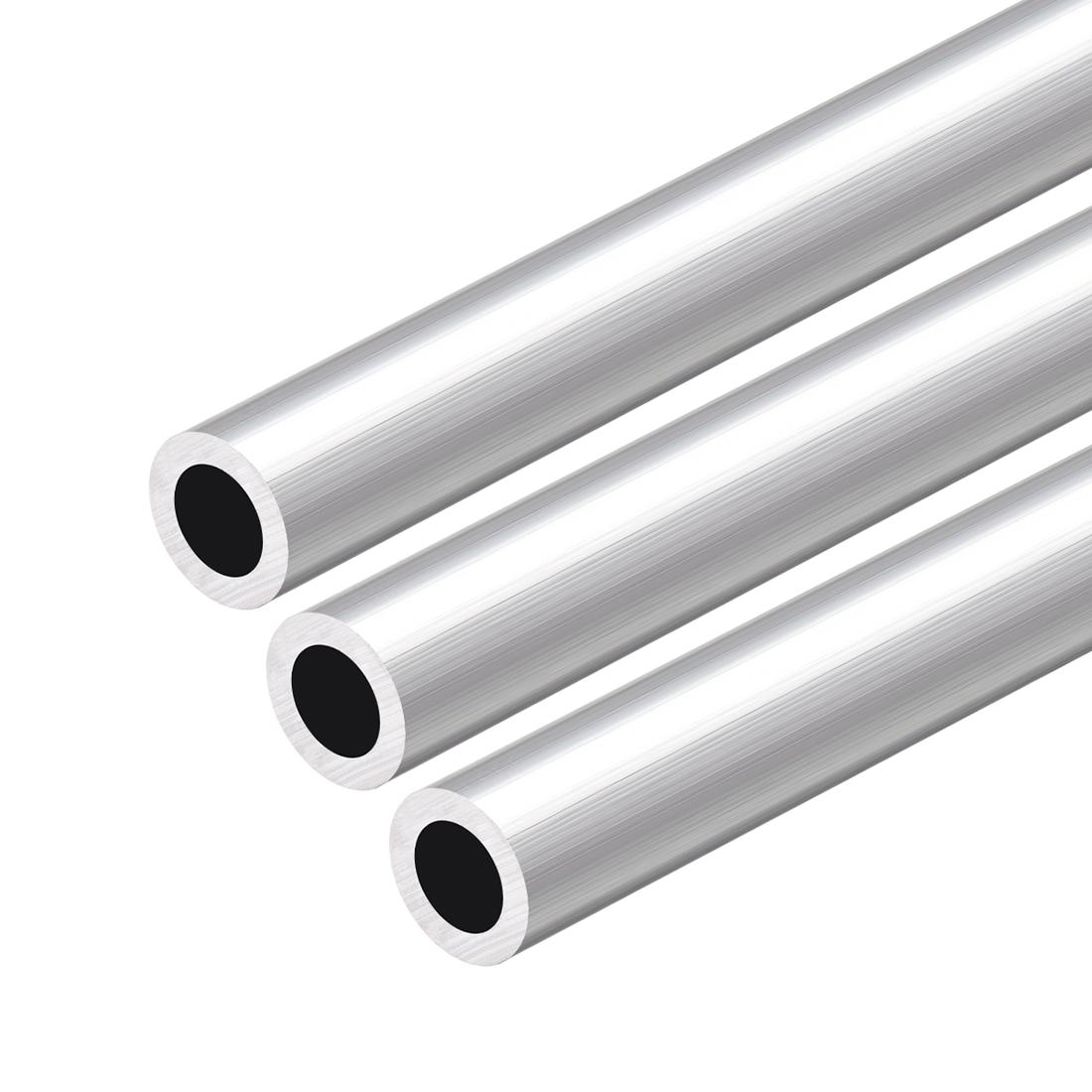 6063 Aluminum Round Tube 300mm Length 17mm OD 11mm Inner Dia Seamless Tube 3 Pcs