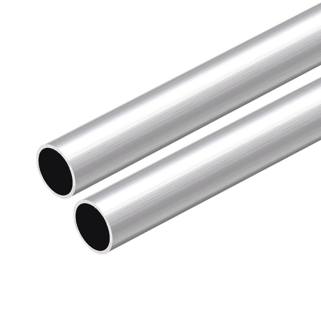 6063 Aluminum Round Tube 300mm Length 17mm OD 14mm Inner Dia Seamless Tube 2 Pcs
