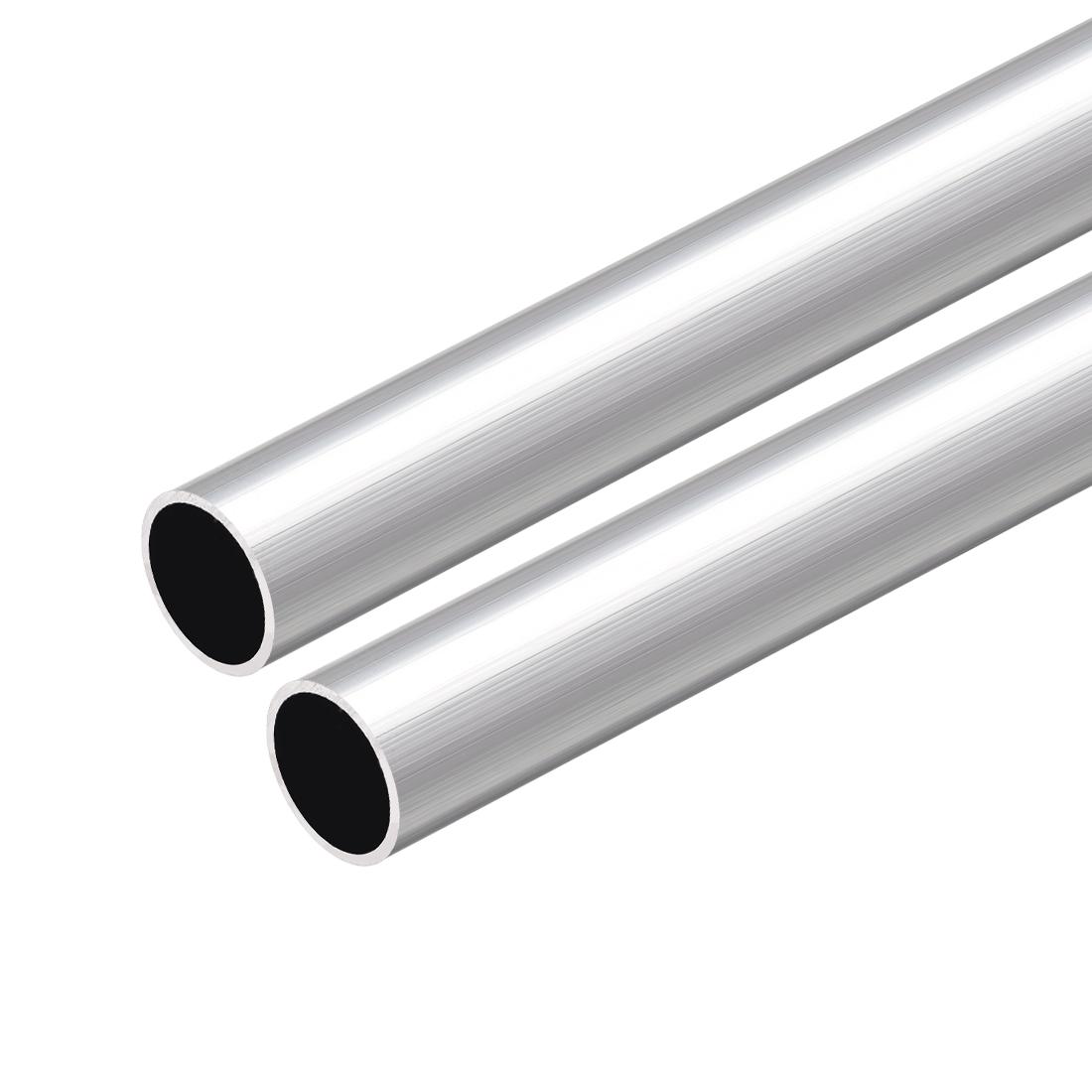 6063 Aluminum Round Tube 300mm Length 17mm OD 15mm Inner Dia Seamless Tube 2 Pcs