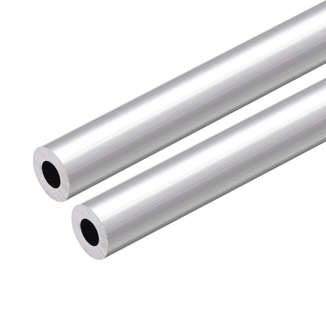 6063 Aluminum Round Tube 300mm Length 18mm OD 9mm Inner Dia Seamless Tubing 2pcs