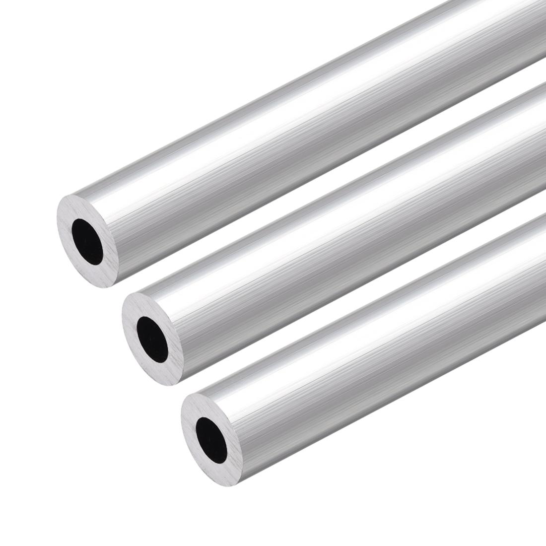 6063 Aluminum Round Tube 300mm Length 18mm OD 9mm Inner Dia Seamless Tubing 3pcs