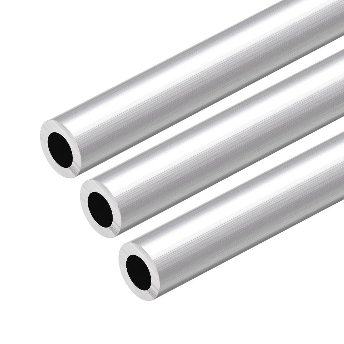 6063 Aluminum Round Tube 300mm Length 18mm OD 10mm Inner Dia Seamless Tube 3 Pcs