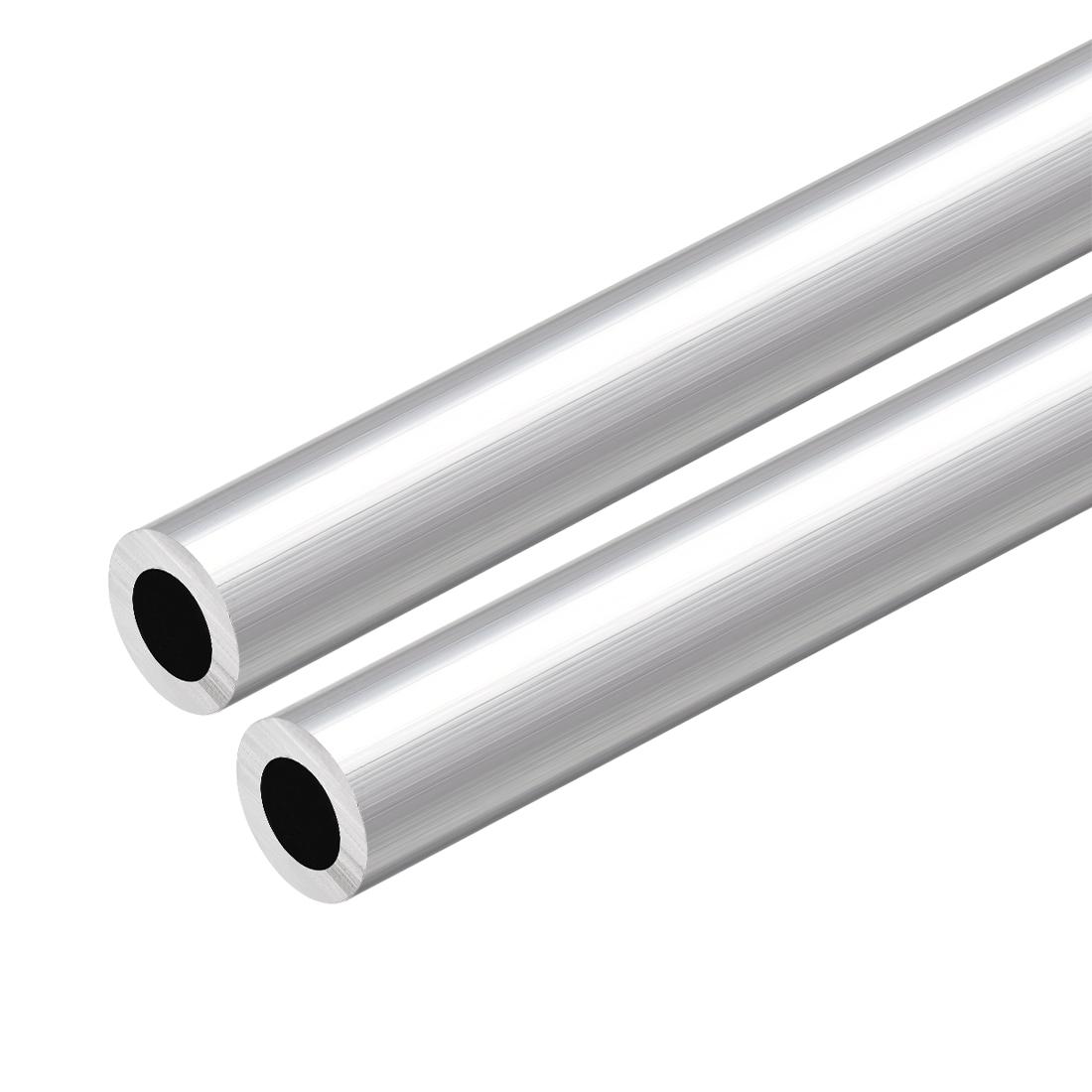 6063 Aluminum Round Tube 300mm Length 18mm OD 11mm Inner Dia Seamless Tube 2 Pcs