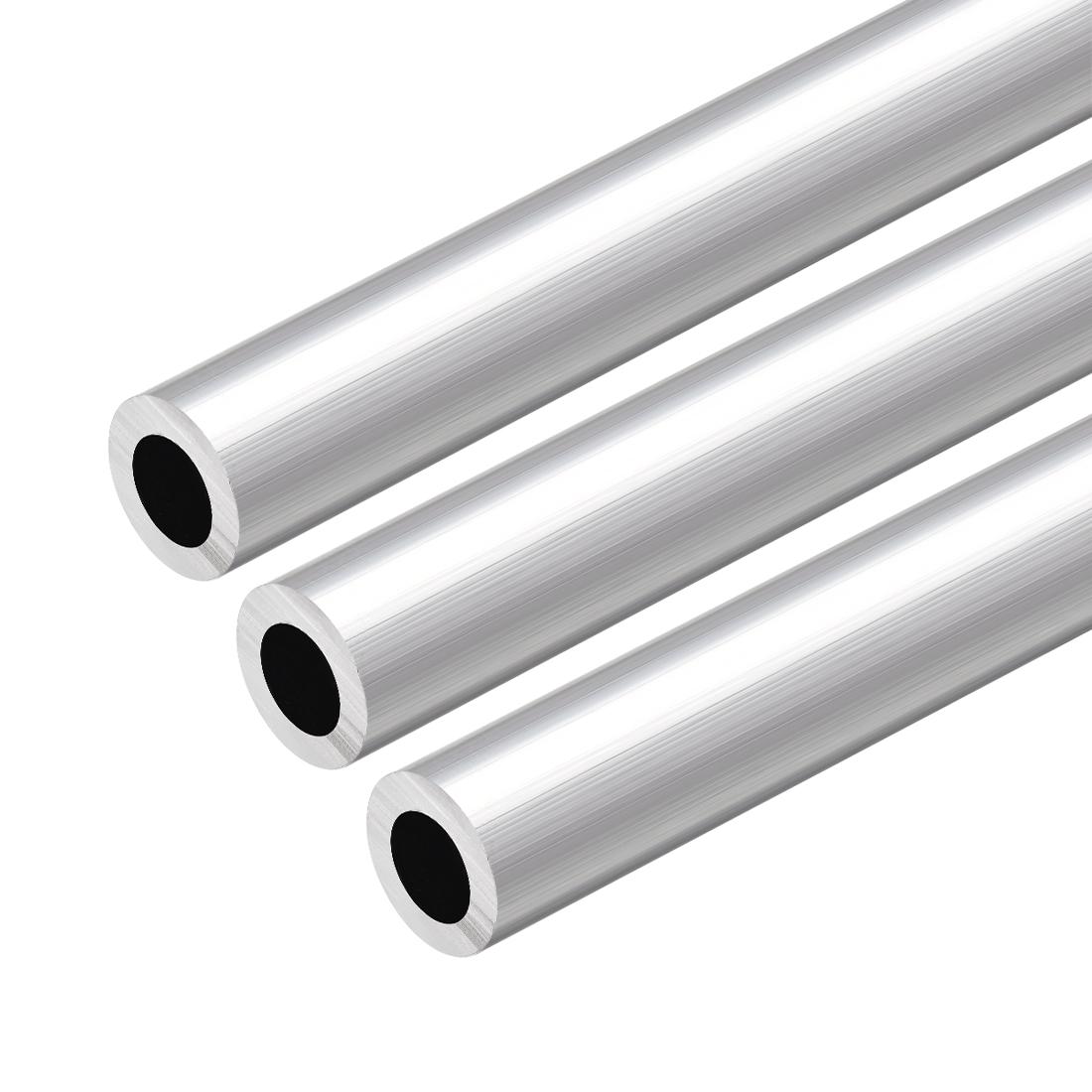 6063 Aluminum Round Tube 300mm Length 18mm OD 11mm Inner Dia Seamless Tube 3 Pcs