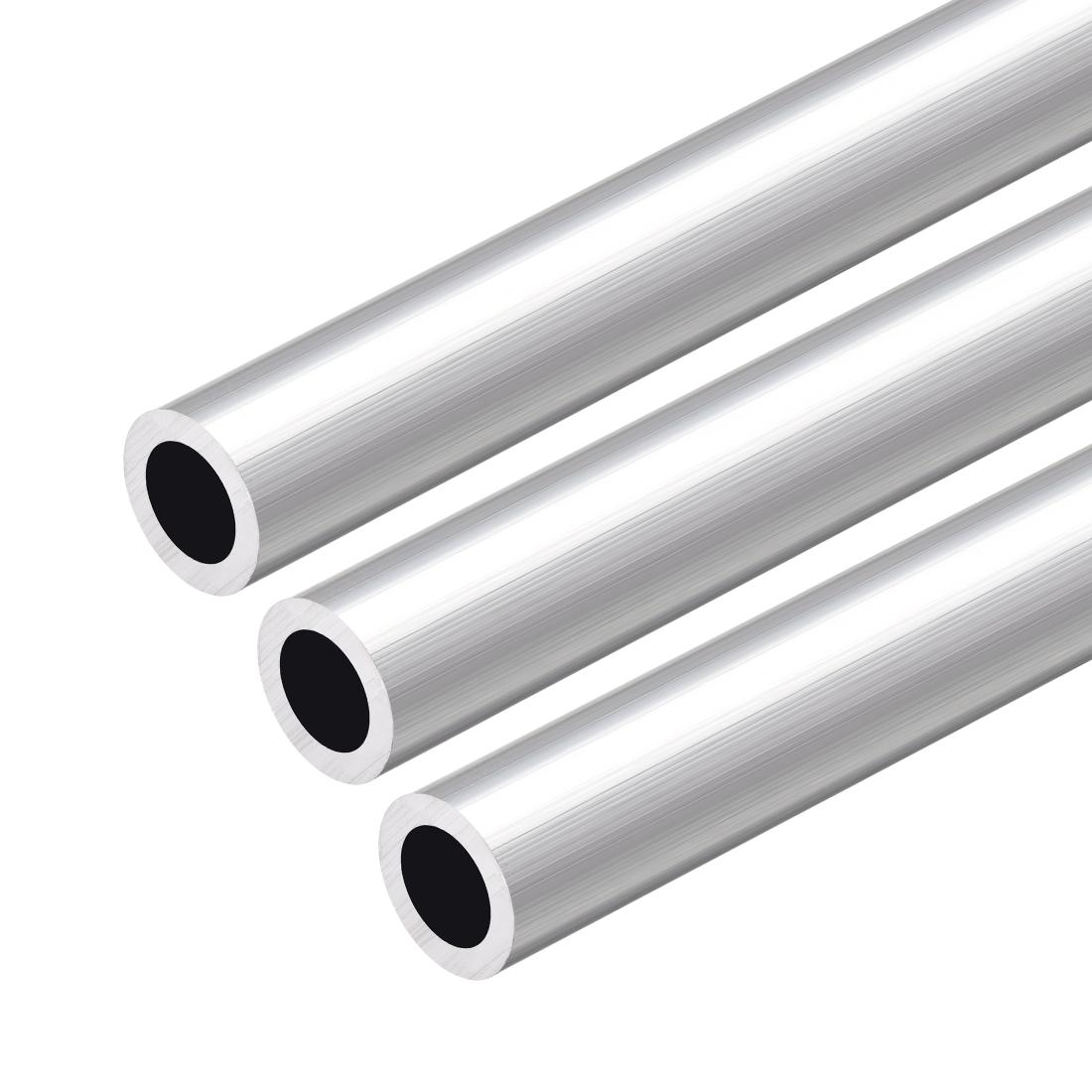 6063 Aluminum Round Tube 300mm Length 18mm OD 12mm Inner Dia Seamless Tube 3 Pcs