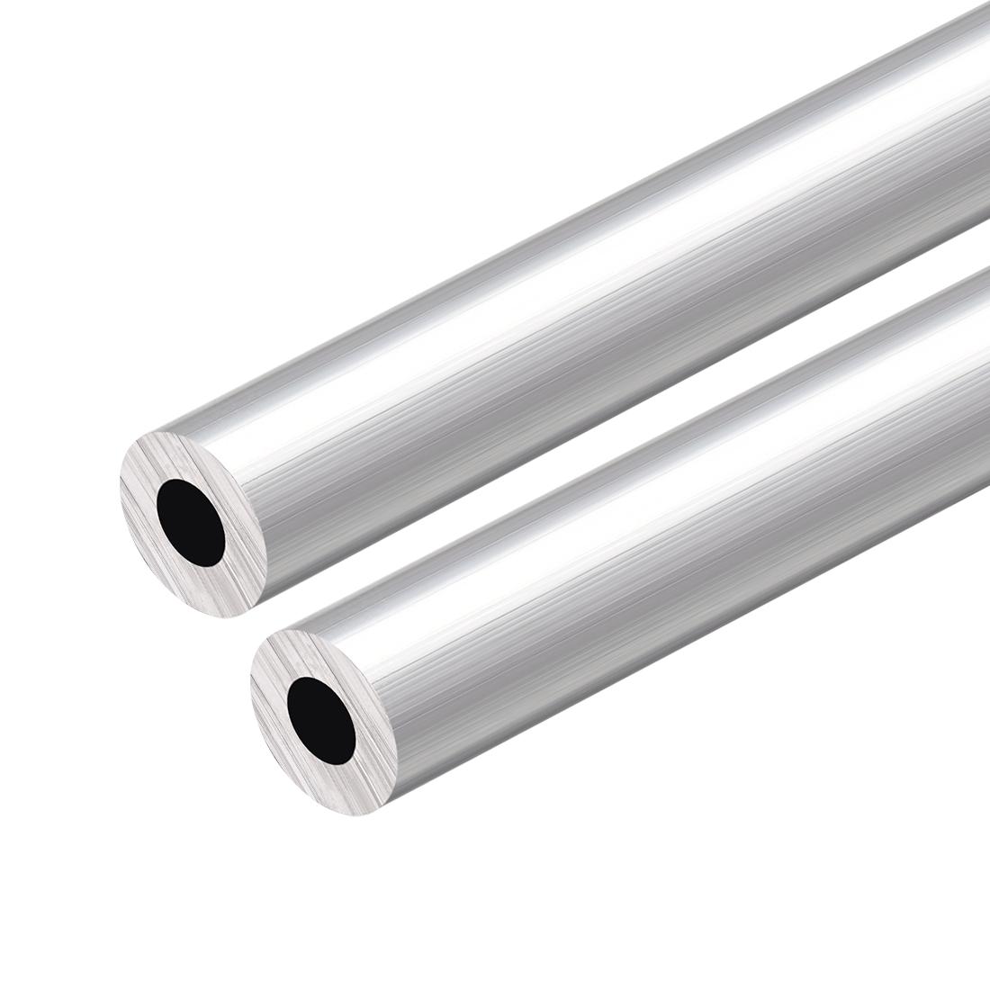 6063 Aluminum Round Tube 300mm Length 19mm OD 9mm Inner Dia Seamless Tubing 2pcs