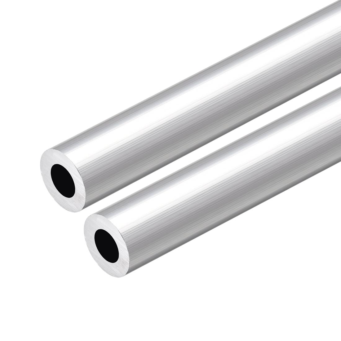 6063 Aluminum Round Tube 300mm Length 19mm OD 11mm Inner Dia Seamless Tube 2 Pcs