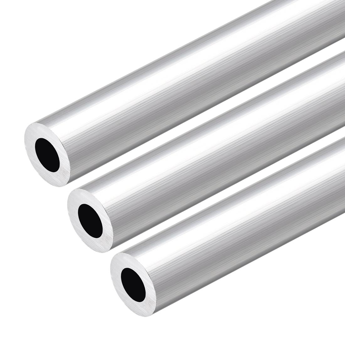 6063 Aluminum Round Tube 300mm Length 19mm OD 11mm Inner Dia Seamless Tube 3 Pcs