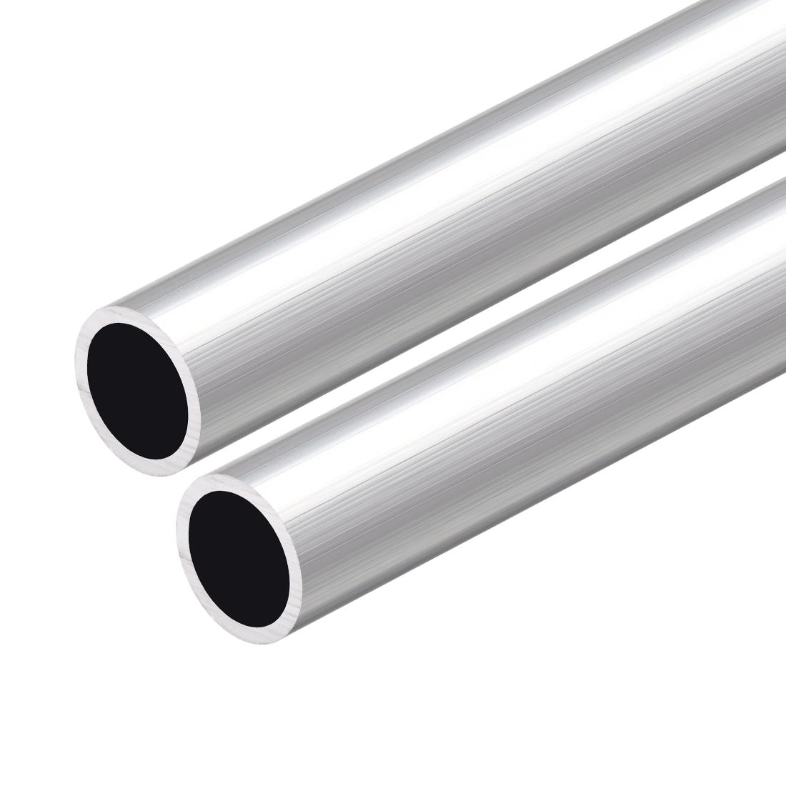6063 Aluminum Round Tube 300mm Length 19mm OD 16mm Inner Dia Seamless Tube 2Pcs