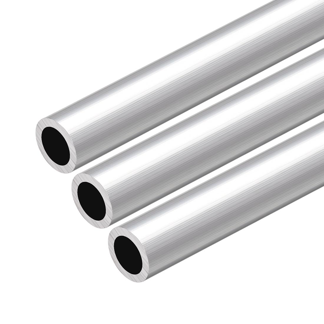 6063 Aluminum Round Tube 300mm Length 20mm OD 14mm Inner Dia Seamless Tube 3 Pcs