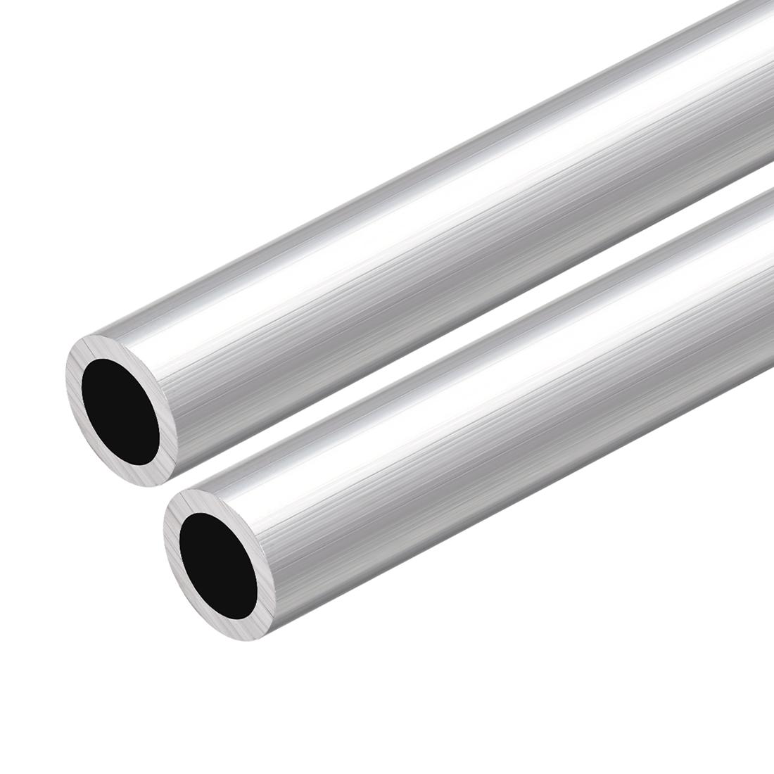 6063 Aluminum Round Tube 300mm Length 20mm OD 15mm Inner Dia Seamless Tube 2 Pcs