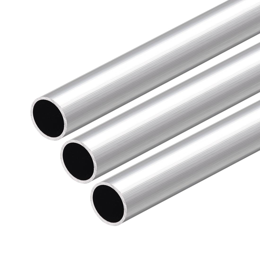 6063 Aluminum Round Tube 300mm Length 20mm OD 17mm Inner Dia Seamless Tube 3 Pcs