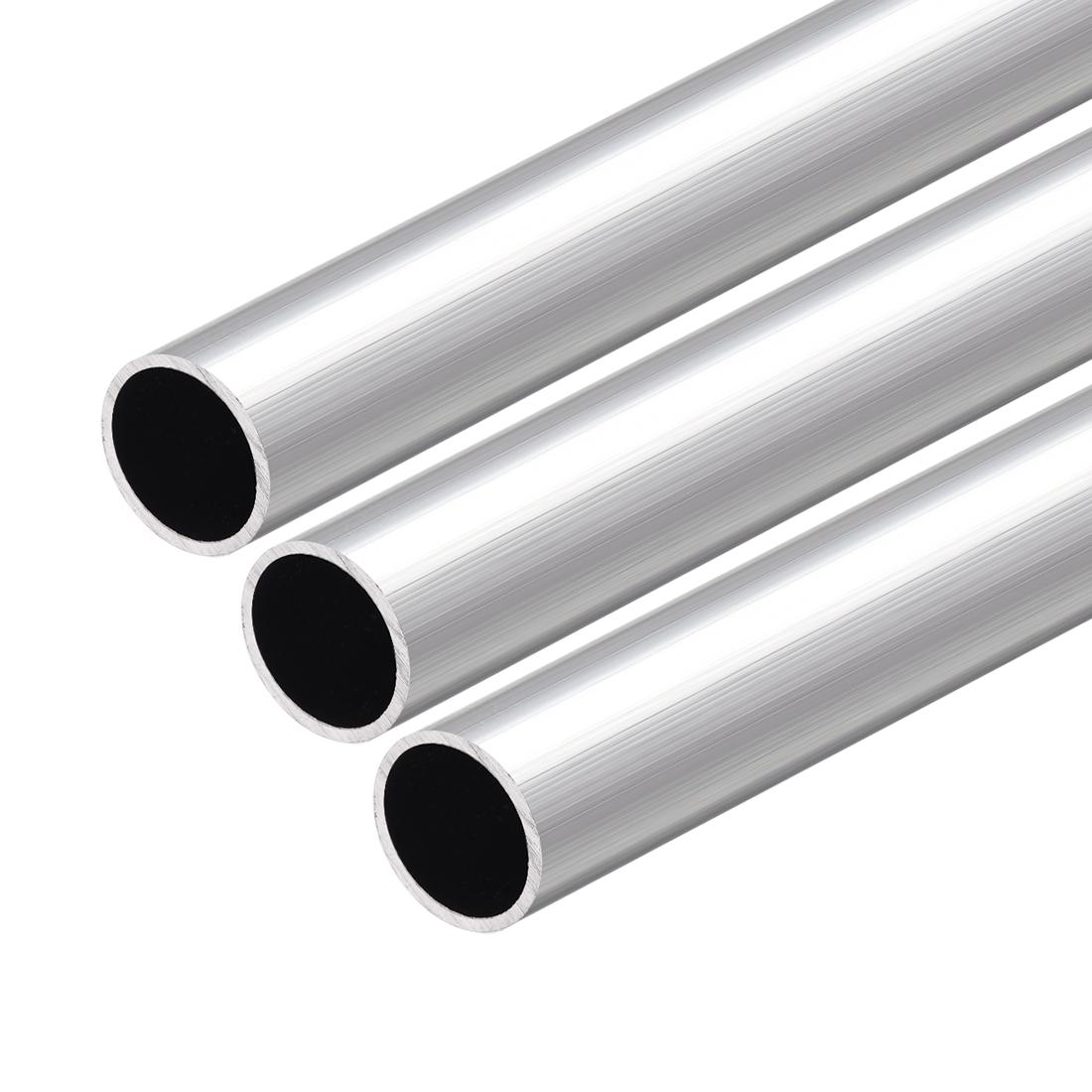 6063 Aluminum Round Tube 300mm Length 20mm OD 18mm Inner Dia Seamless Tube 3 Pcs